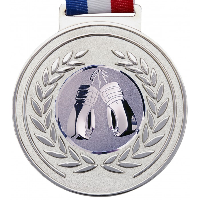 SILVER 100MM KICKBOXING MEDAL & RIBBON - OLYMPIC SIZED